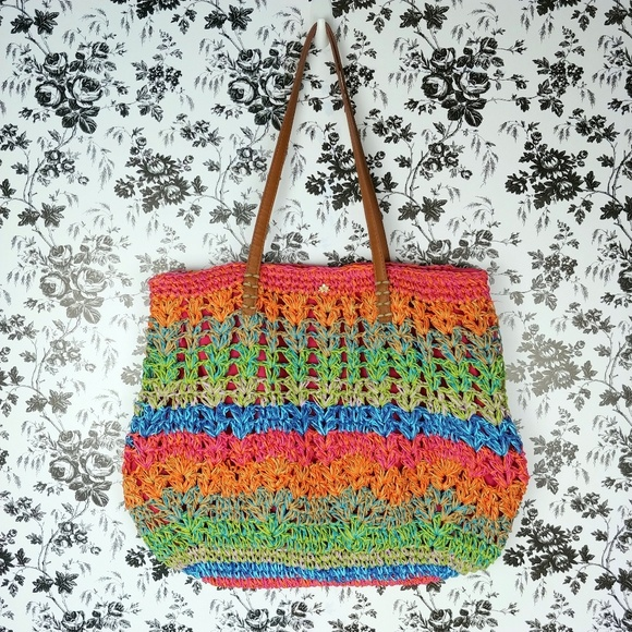 Cappelli Handbags - Cappelli rainbow stripe zippered straw tote bag